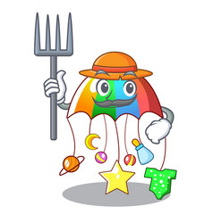 Farmer character hanging toy attached to cot vector