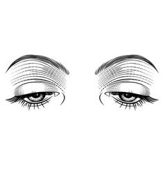 female eyes looking down vector image