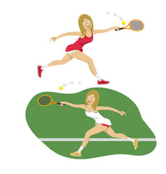 female tennis player reaching to tennis ball vector image