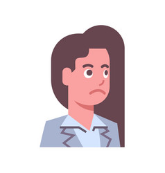 female upset emotion icon isolated avatar woman vector image