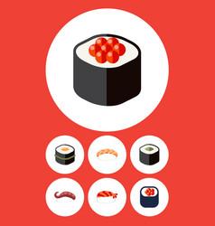 flat icon maki set of seafood japanese food vector image