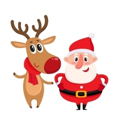 Funny Santa Claus and reindeer in red scarf vector