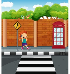 Girl chatting on cellphone at the street vector