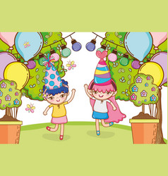 Girl on party cartoons vector