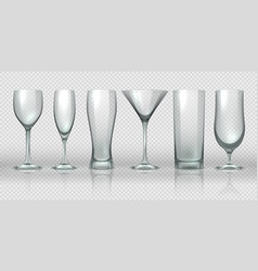 glass cups empty transparent glasses and goblet vector image