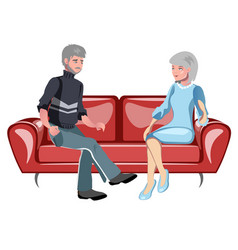 grandparents sitting on the couch vector image