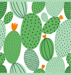 green doodle cactus seamless pattern vector image