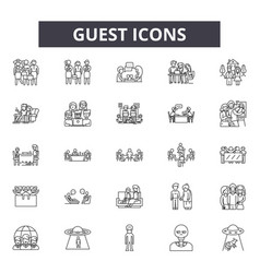 Guest line icons signs set outline vector