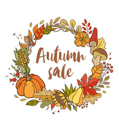 hand drawn doodle autumn banner vector image