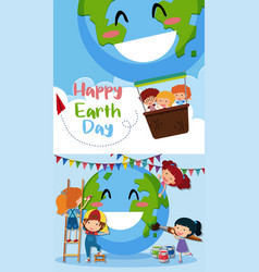 Happy earth day poster with kids on earth vector