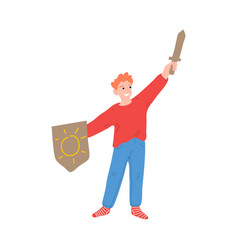 Happy little knight boy character with arm up vector