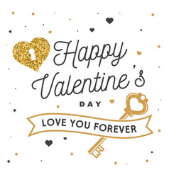 happy valentines day stamp badge card with key vector image