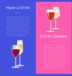 Have drink pair of glasses posters set elite wine vector