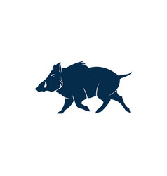 Hog wild animal silhouette isolated boar pig vector