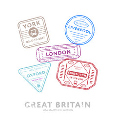 international travel visa stamps vector image