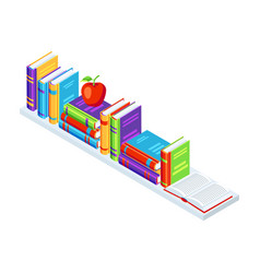 isometric books on bookshelf vector image