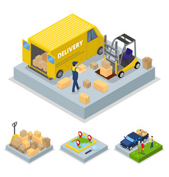 isometric delivery concept with loading process vector image