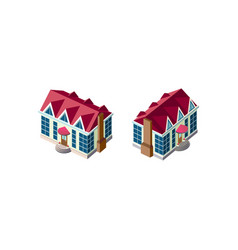 isometric set house with red roof vector image