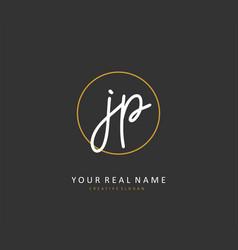 Jp initial letter handwriting and signature logo vector