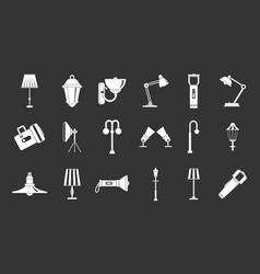 lamp icon set grey vector image