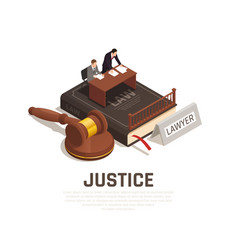 Law justice isometric composition vector