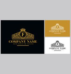 Letter f logo design luxury gold vector