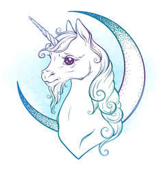 Little unicorn and crescent moon in pastel colors vector