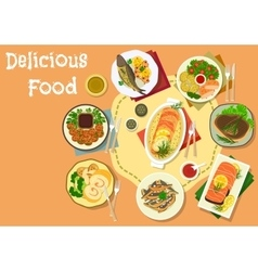 Lunch menu icon with meat and fish dishes vector