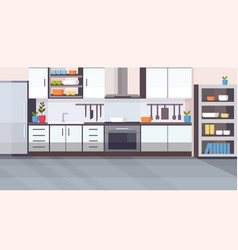 modern kitchen interior design empty no people vector image