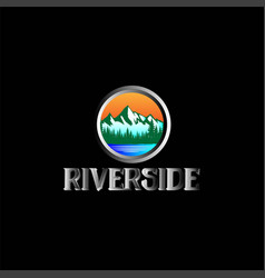 mountain pine forest riverlake logo vector image