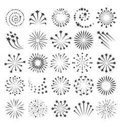 New year fireworks icons vector