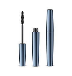 Opened closed black realistic mascara vector