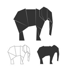 paper japanese elephants wild animal vector image
