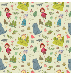 Pattern with little red riding hood fairy tale vector