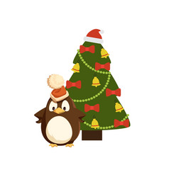 penguin in santa hat near decorated christmas tree vector image