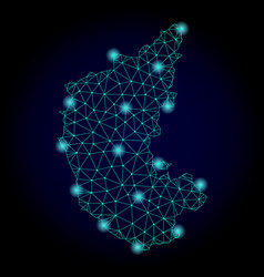 Polygonal network mesh map of karnataka state with vector