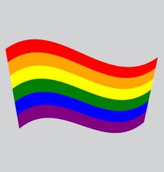 Rainbow gay pride flag waving on gray background vector