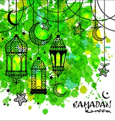 Ramadan Kareem background on watercolor texture vector image