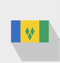 Saint vincent and grenadines flag long shadow vector
