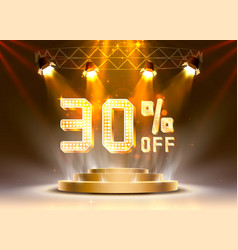 scene golden 30 sale off text banner night sign vector image