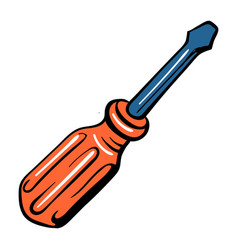 screwdriver icon cartoon style vector image