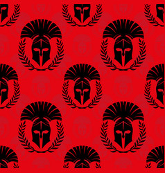 seamless pattern with spartan helmets vector image