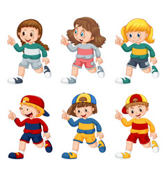 Set isolated boys and girls vector