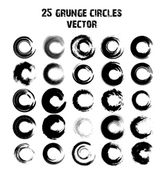 Set of 25 different grunge circles vector image