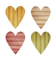 Set of wooden watercolor hearts vector image