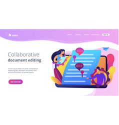 Shared document concept landing page vector