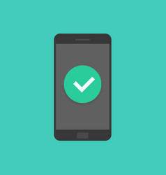 smartphone with checkmark mobile phone approved vector image