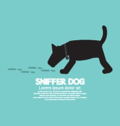 Sniffer Dog Smell Footprint On Ground vector