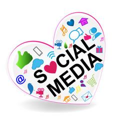 Social media heart logo vector
