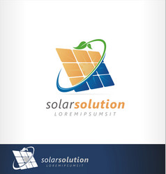 solar logo panel green friendly energy vector image